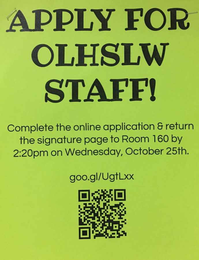 Poster for Leadership Workshop Staff applications located outside of Dolphin Workroom.