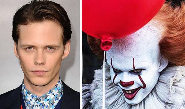 Depicts Bill Skarsgard on the left and Skarsgard dressed  up as Pennywise the clown from It.