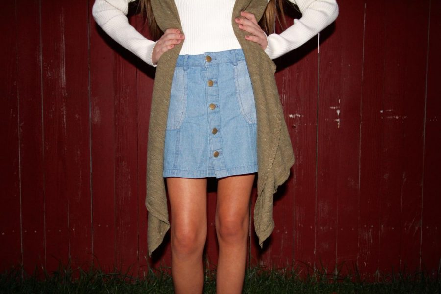 Button down skirt modeled by Abby Asimos.