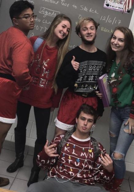 Senior+Romeo+Mandoza%2C+senior+Ragan+Curtin%2C+junior+Lyric+Bruner%2C+junior+Haley+Tideman%2C+and+junior+Hunter+Gibbs+pose+with+holiday+sweaters+on+Thursday%2C+Dec.+6.