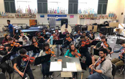 Depicts the orchestra in room 111 practicing for assessment. Picture taken by Makenna Miller.