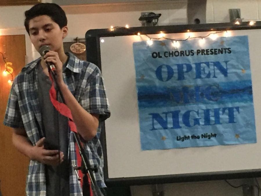 Freshman Josh Esposo sings