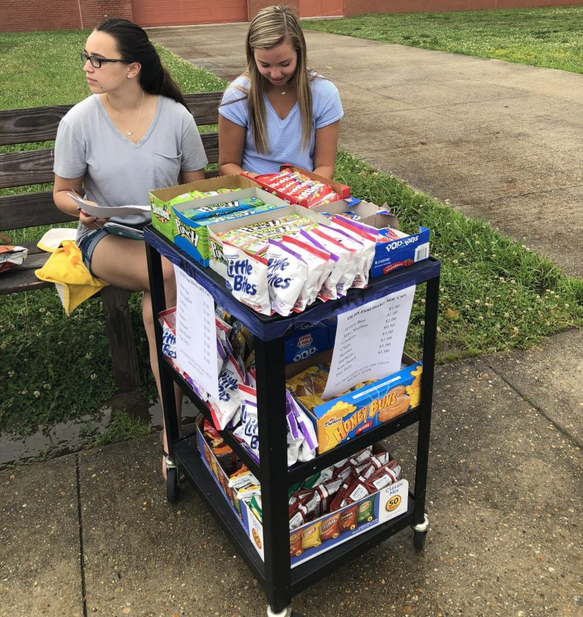 Juniors (left to right) Jennifer Zellers and Caroline Hampton sit outside of the gym selling snacks before school.