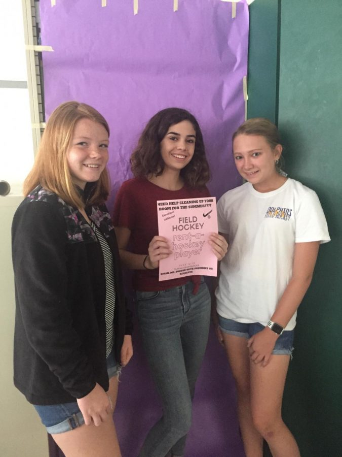 Featured are several field hockey players, Laila Hall, Ashley Navarette, and Lily Heck, who roamed the halls last week of school to raise money for