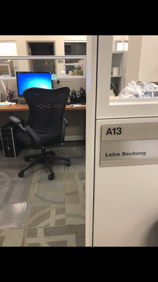 Leira Sechong's office in the Humans Resources department of the Hampton Roads Sanitation District.