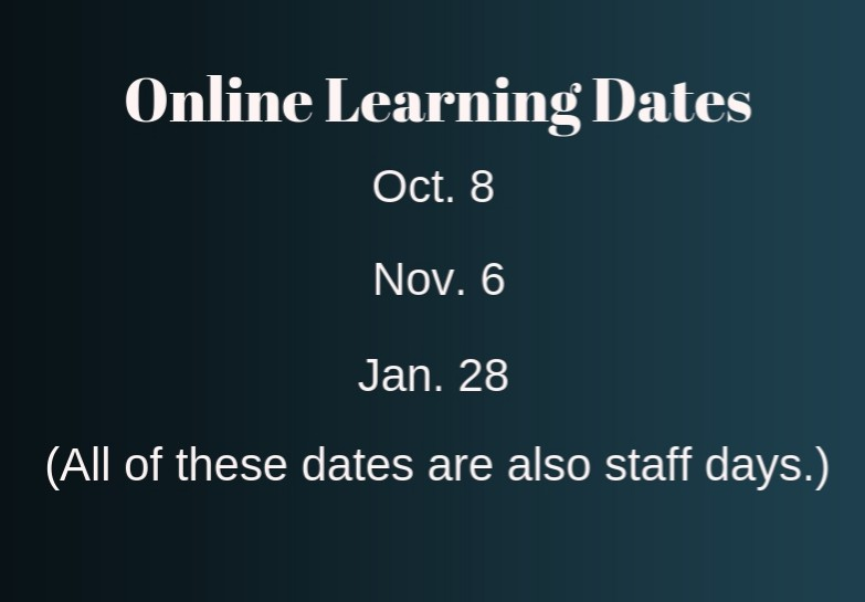 The dates of the three Online Learning days activated.