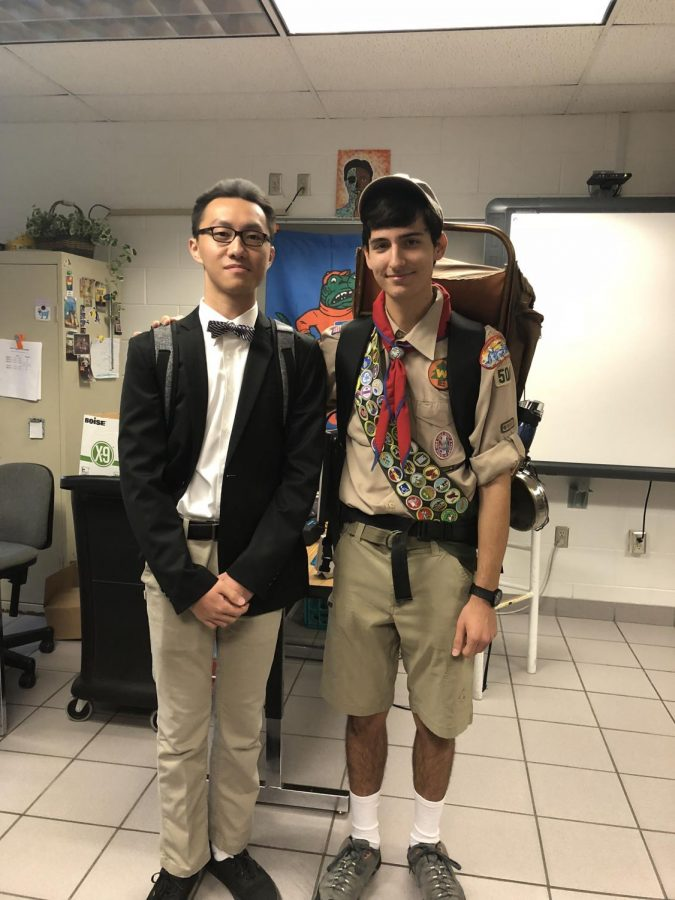 Seniors John Wong (left) and Alexander Sarchet (right) dressed as Carl and Russell from