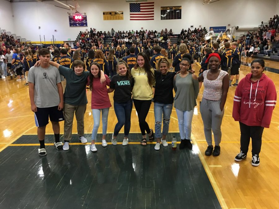 2022+freshmen+AVID+students+smile+for+their+teacher+at+the+first+all+school+assembly+on+Friday%2C+Oct.+28%2C+2018.