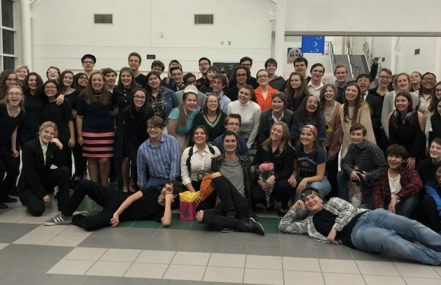 Photo depicts theater cast and crew of The  Laramie Project on Nov. 15, 2018.
