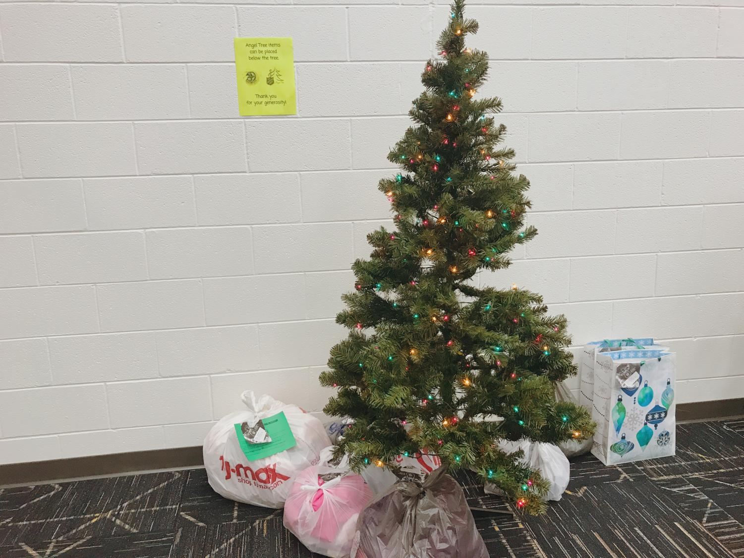 A pile of donated gifts sit under Ocean Lakes' annual Angel Tree. Nov 28