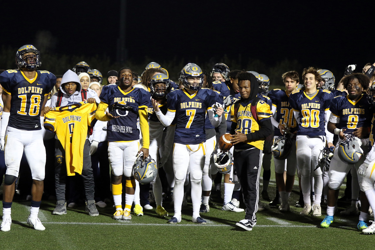 Newly crowned 6a champions coming together after beating the Tigers on Nov. 23 at the Sportsplex.