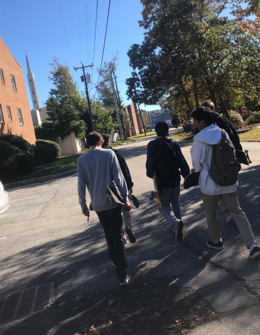 (From left to right) Junior skaters Nathan Hubba, Tyler Wolfe, Christian Vezina, Kaipo Chavez, and Henry Graycochea walk to WRV skate park at the Oceanfront.