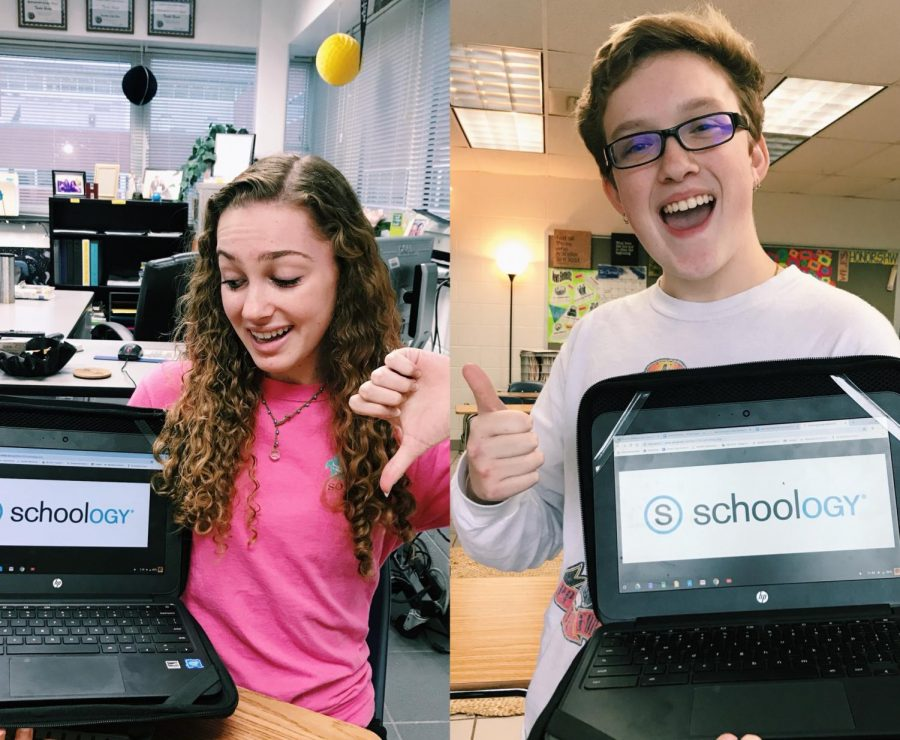 Mackenzie Gorman and Karson McKendry give a thumbs down and a thumbs up to show their personal opinion on Schoology.
