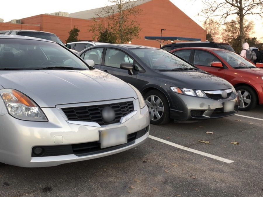 An example of what acceptable parking looks like in the student parking lot on Dec. 19.