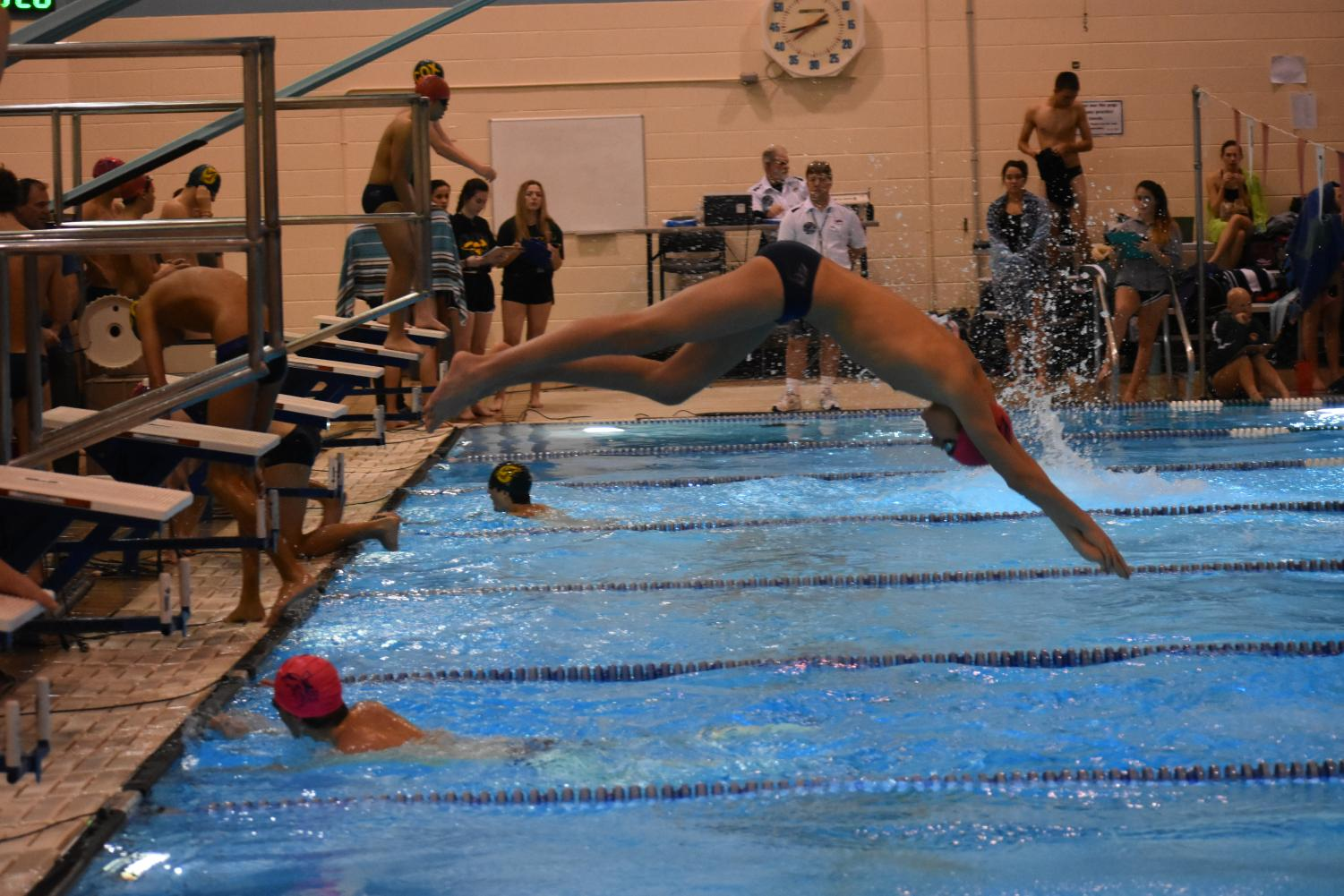 Sophomore Kyler Ferracci dives in during the meet against Cox high school on Dec. 14 at the Princess Anne Recreation Center.