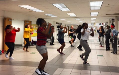 The step team practices after school with co-captains Lay-Lay Hoffman and Aliyah Webster leading.