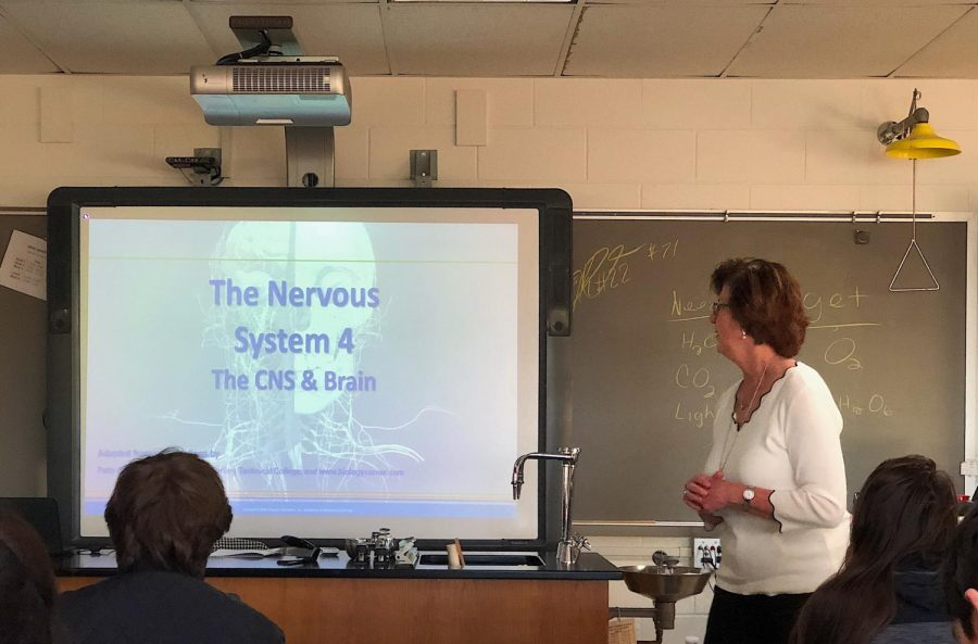 Dr. Claire Leblanc teaches seniors as a substitute in Anatomy and Physiology. Photo by Harley Middleton.