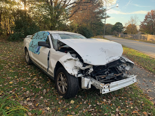 Destroyed car discourages destructive habits