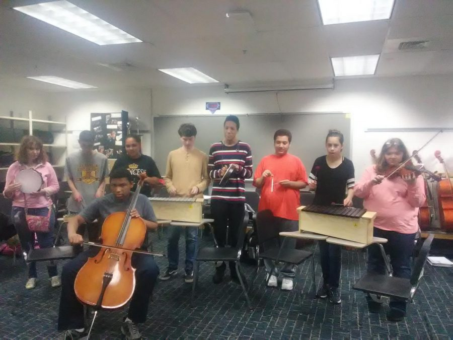 Special Education class playing their instruments on Jan. 10 in room 110. Left to right:  Shelby Petretto, Angelo Shaw, Jaden Timon-Temple, Michael Grover, Devlin Tongue, Donovan Saunders, Navaeh Constantine, Kailee Page, and Jeremiah Evans (front).