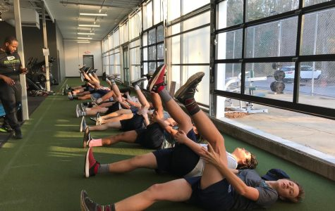 Ocean Lakes Lacrosse Club as they participate in cooldown on Jan. 15 at Onelife Fitness.