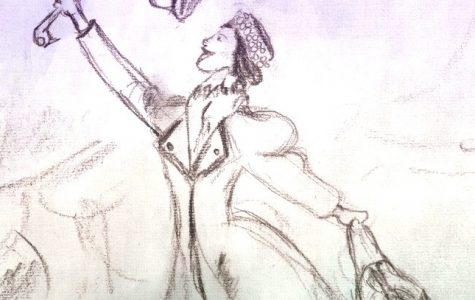 Depicts a drawing of Mary Poppins holding  out her umbrella. Picture drawn by Joe Caruso.