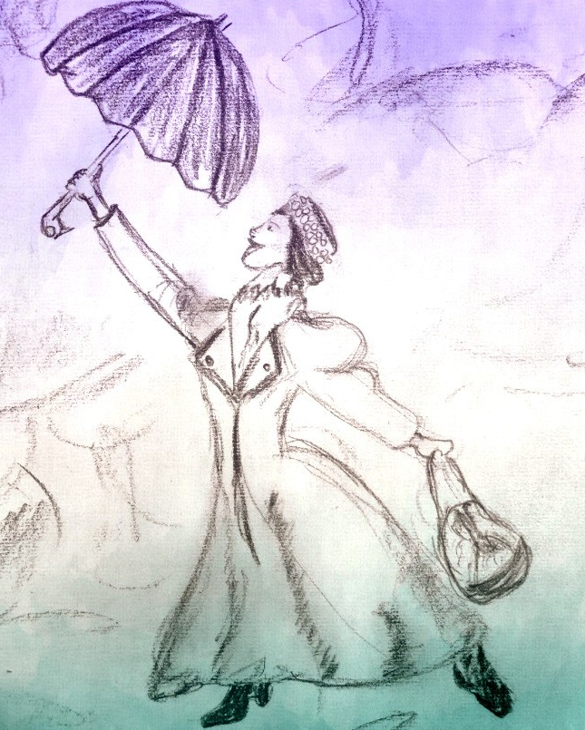 Depicts+a+drawing+of+Mary+Poppins+holding+%0Aout+her+umbrella.+Picture+drawn+by+Joe+Caruso.%09%09++++++%0A%09%09++++++