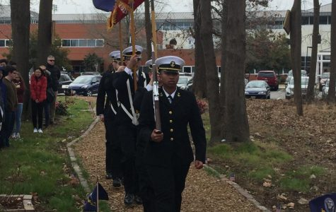 Navy sailors present the colors in honor of Mason on Feb. 9.