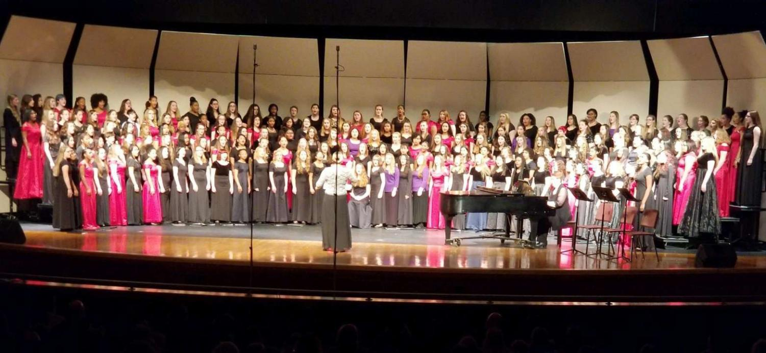 Depicts the High School Treble Choir. Picture taken by David Frost.