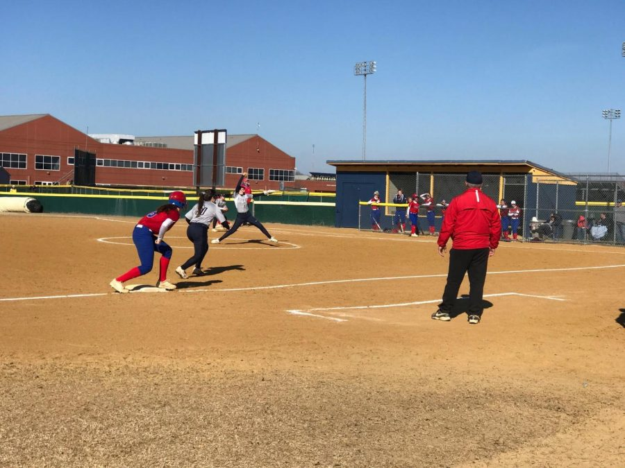 Junior+Emily+Demartino+pitches+against+Kempsville+Chiefs+at+home+on+March+19.%0A
