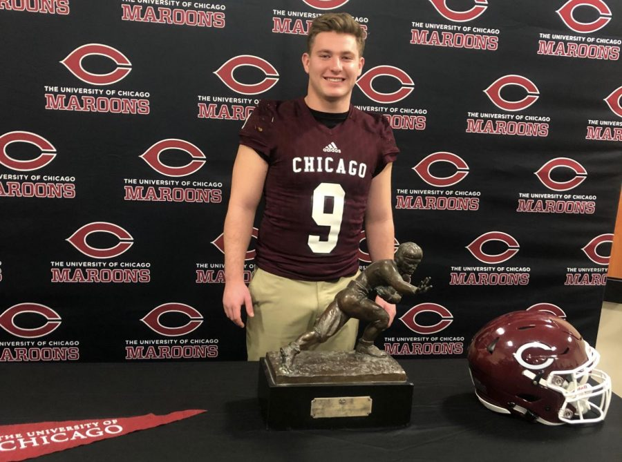 Senior Jake Low poses during his official visit at the University of Chicago. Photo on Jan. 11, 2019