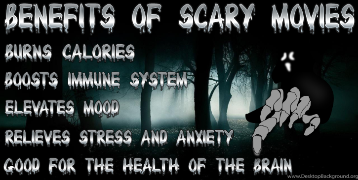 Info graphic about the physical benefits of watching scary movies.