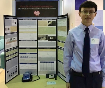 Alan presents his project at the TSEF on March 15. Photo submitted by Alan Mach.