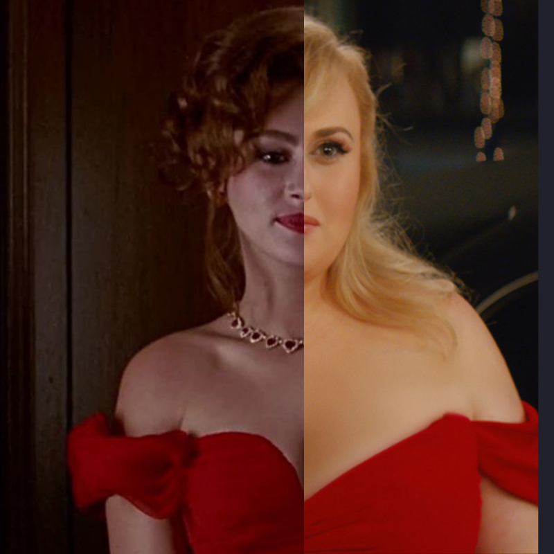 "Collage of Julia Roberts in the classic film ""Pretty Woman"" depicted in the famous red dress, with Rebel Wilson in ""Isn't It Romantic"" wearing a similar gown created by Blake Smith on Canva."