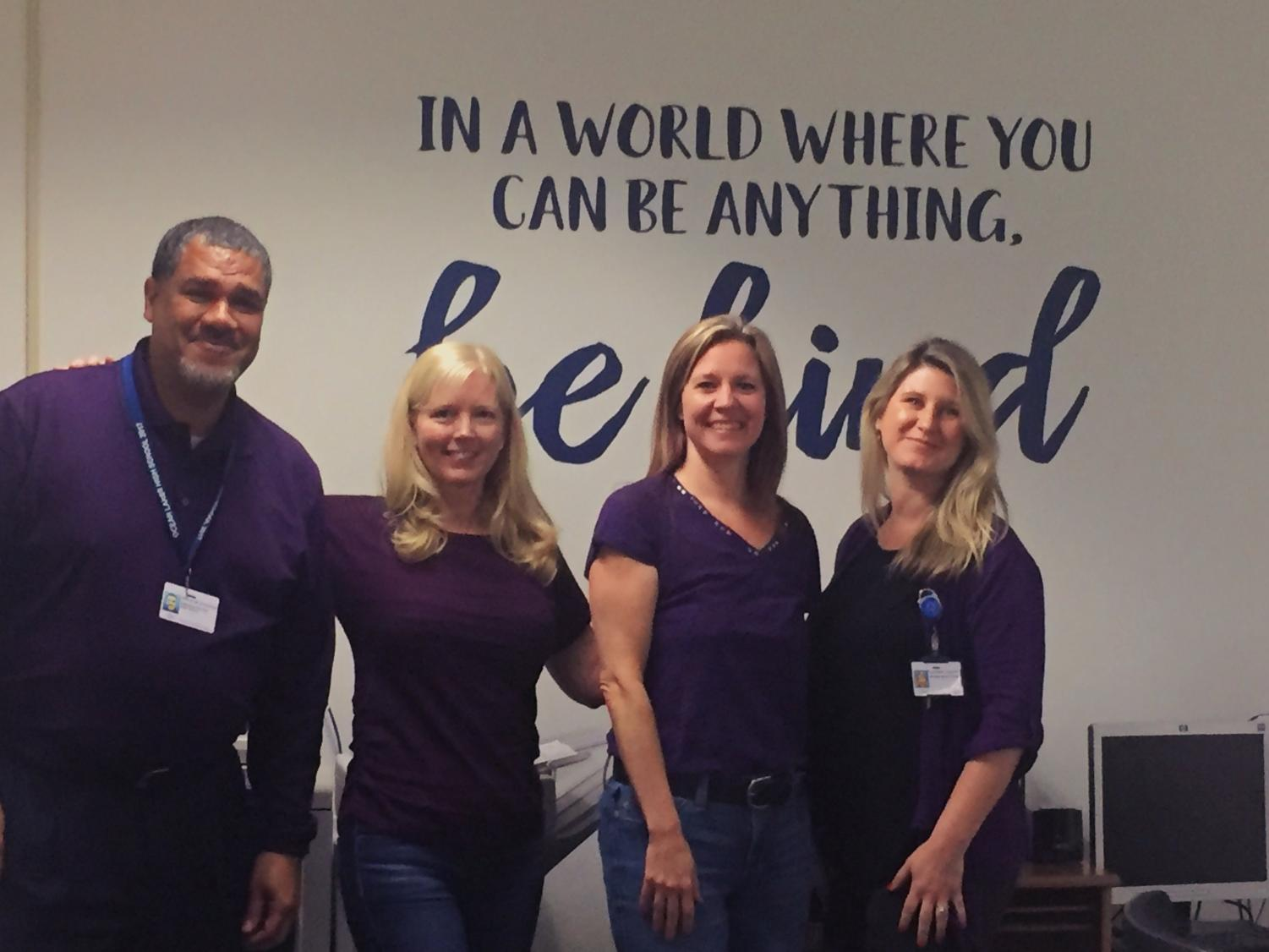 Admin wears purple to support students of military families on April 10.
