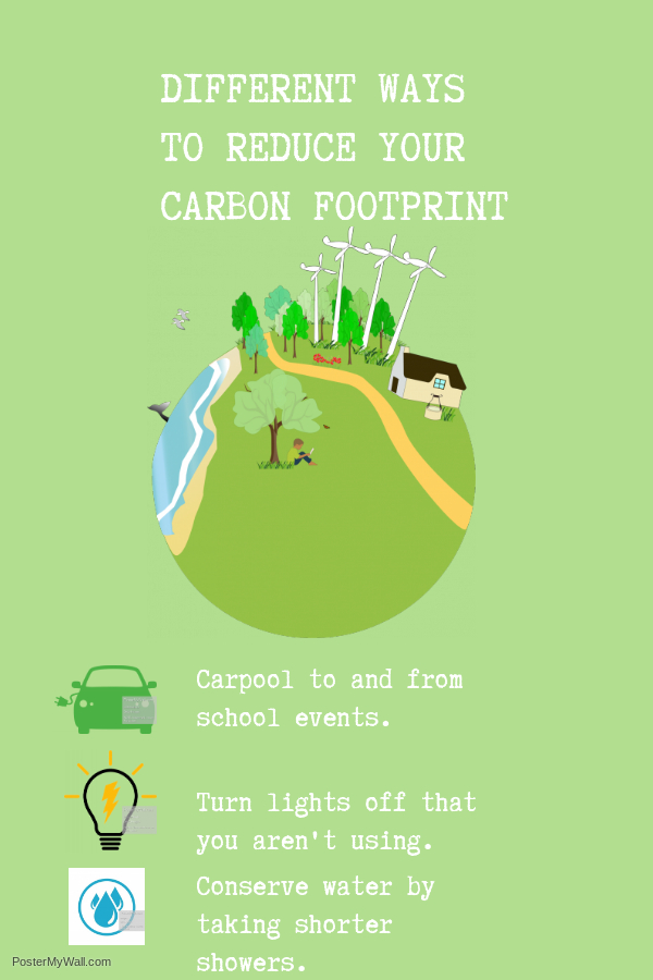 Infographic that displays different ways for students and staff to reduce their carbon footprint.
