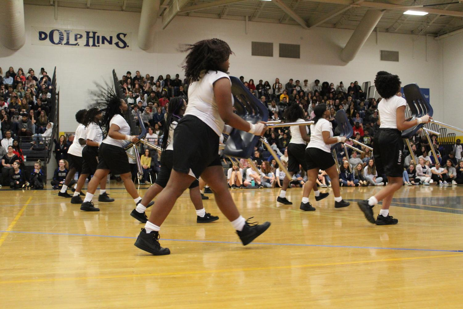 The step team performs their routine at the Spring Spirit Assembly in the gym. Photo on April 5, 2019