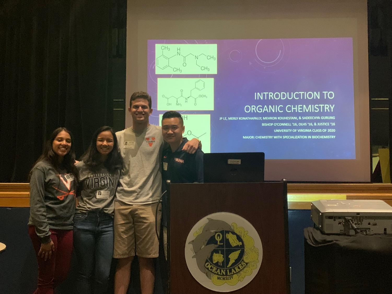 (Left to right) UVA students Merly Konathapally,, Sadeechya Gurung, Mehron Kouhestani, and JP Le start their presentation in the auditorium on Wednesday, May 15.