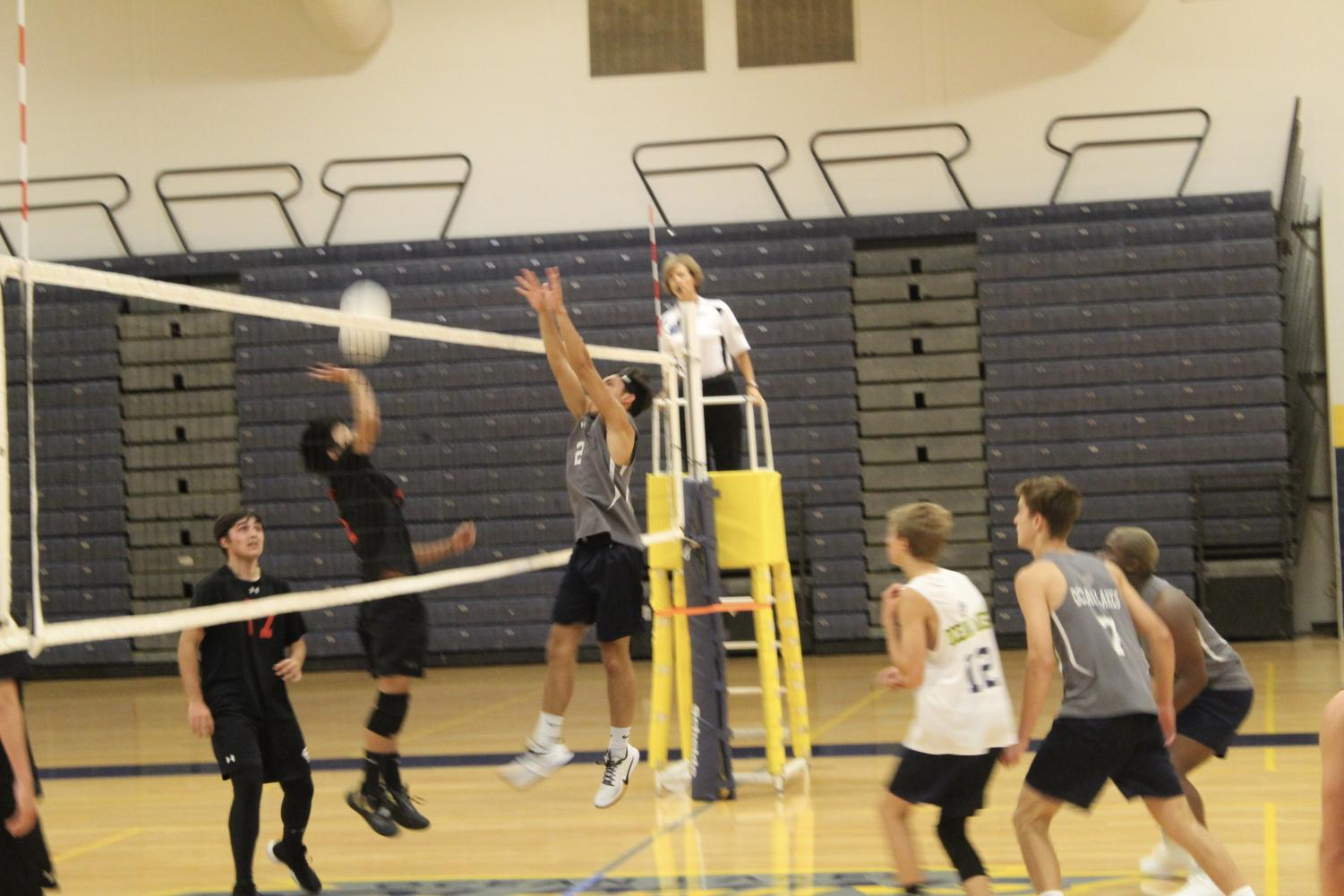 Senior Antonio Velazquez jumps to block a hit in a game against Salem on August 27.