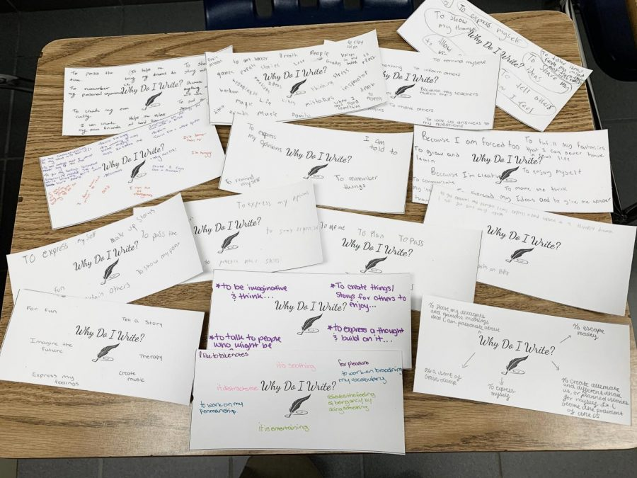 English teacher Christina Frierman set up class to prompt students to discuss the art of writing.