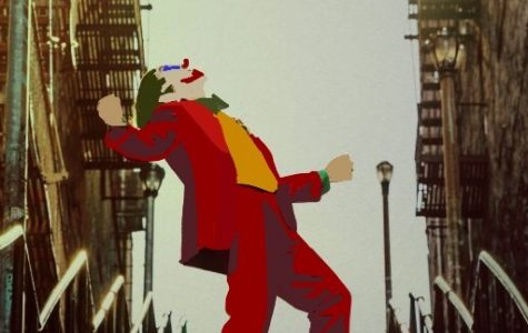 Joker, played by Joaquin Phoenix, dances on the stairs of Gotham City.