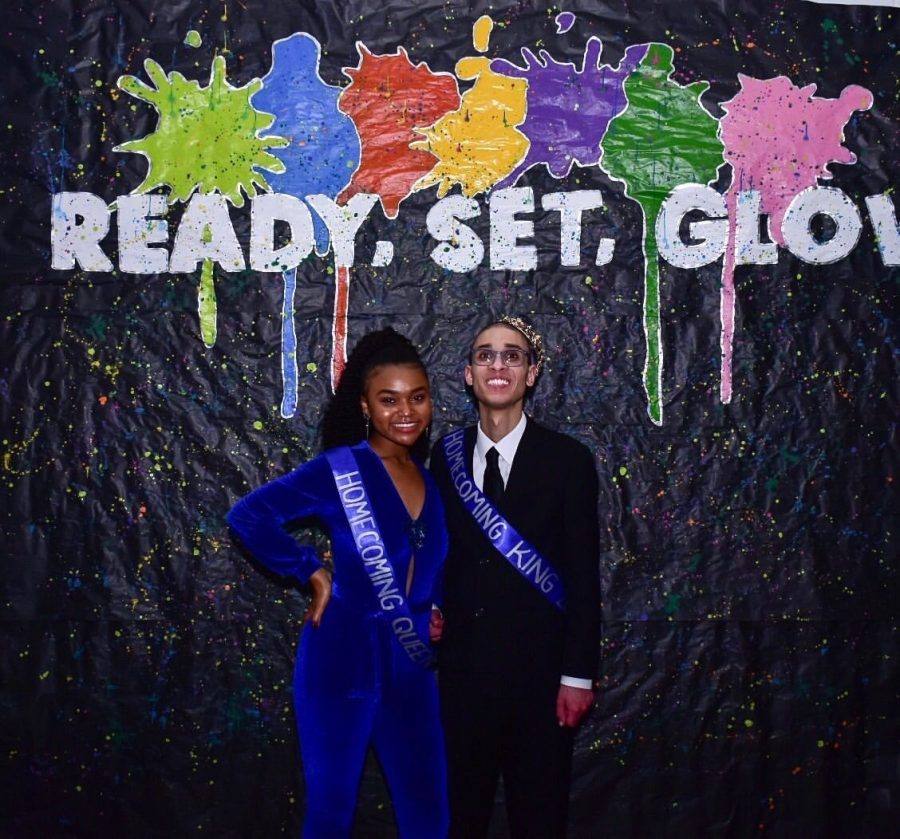 Homecoming+King+and+Queen%2C+Angelo+Shaw+and+Aliyah+Webster%2C+enjoy+the+dance+together.+Nov.+9%2C+2019.