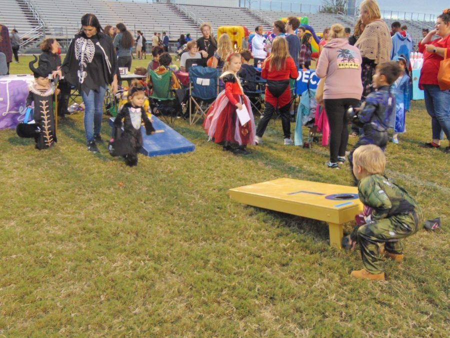 Ocean Lakes community participates in Operation Smile corn hole on Oct. 28.