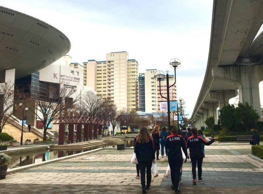 2018 Sasebo, Japan's basketball team walks the streets of Kobe, Japan for tournament against international school.