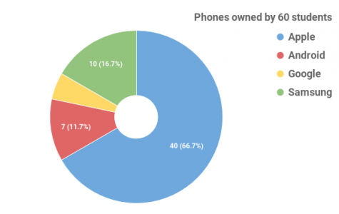 Pie chart representing data of what phones 60 students use. Information gathered and graph created by Alexia Fenner.