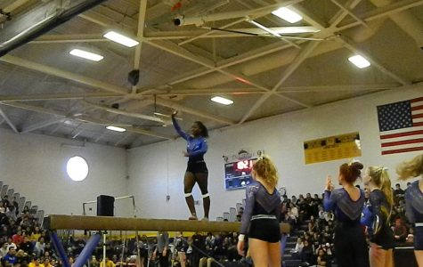 Gymnastics team performs at winter assembly for first time