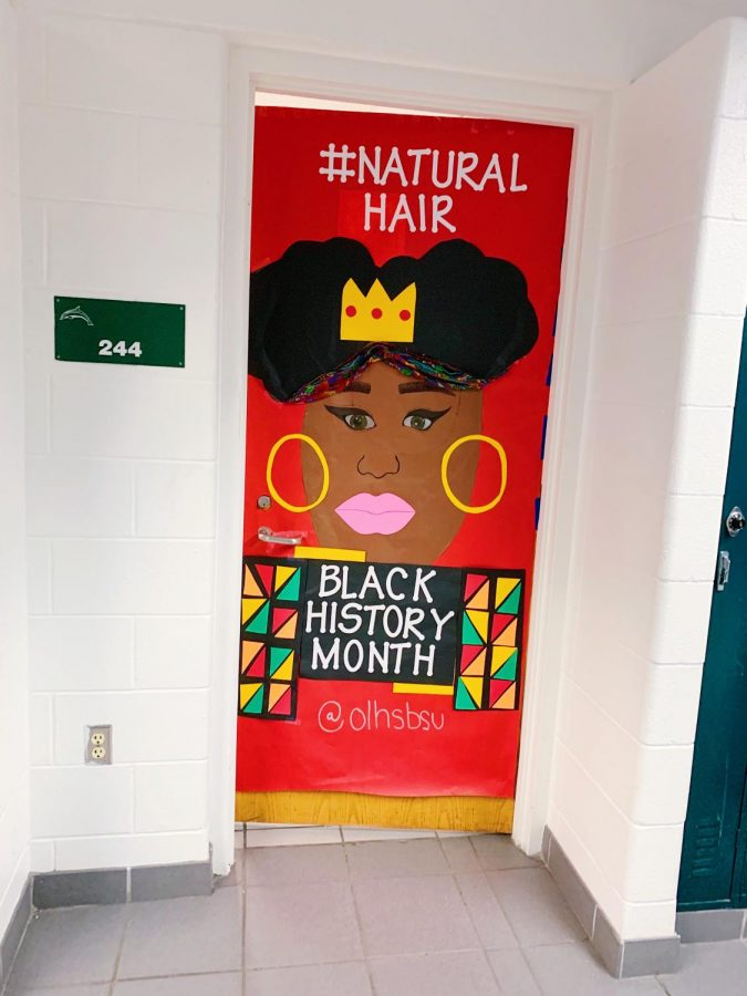 Señora Rosados door, 244, decorated by the Black student union to represent the importance of the natural hair movement in Black culture on Feb. 10.
