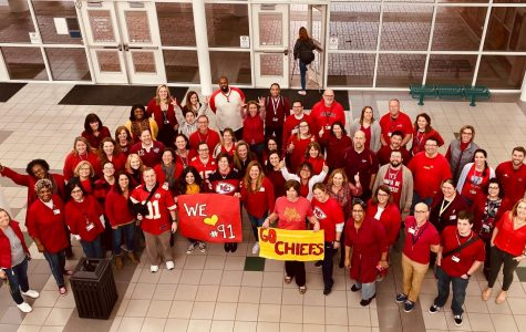 Ocean Lakes staff  members wear red to support Derrick Nnadi before the Super Bowl on Jan. 31.