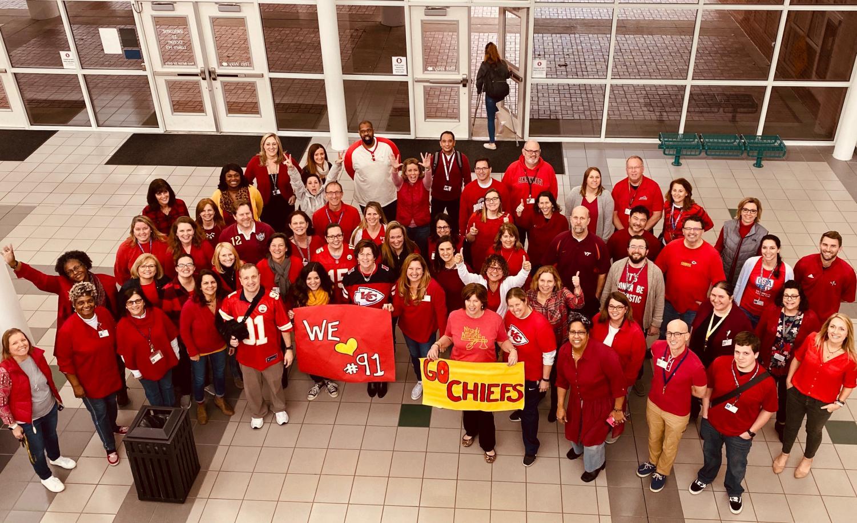Ocean Lakes staff  members wear red to support Derrick Nnadi before the Super Bowl on Jan. 31.