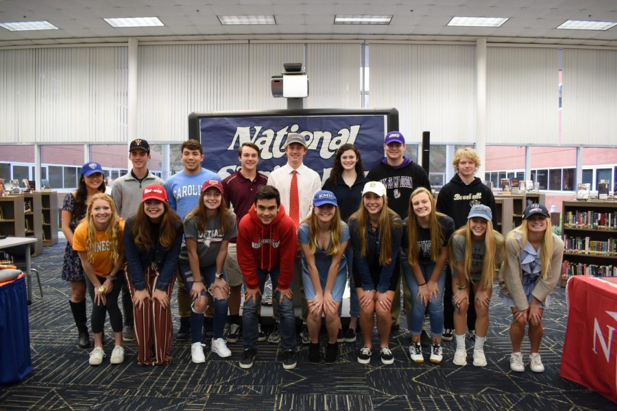 A total of 17 student-athletes signed to different colleges on Feb. 5 in the library.
