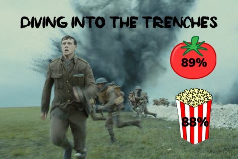 "A graphic displaying the Rotten Tomato critic and audience ratings for ""1917."""
